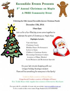 Visit the 3rd Annual Christmas on Maple in Downtown Escondido