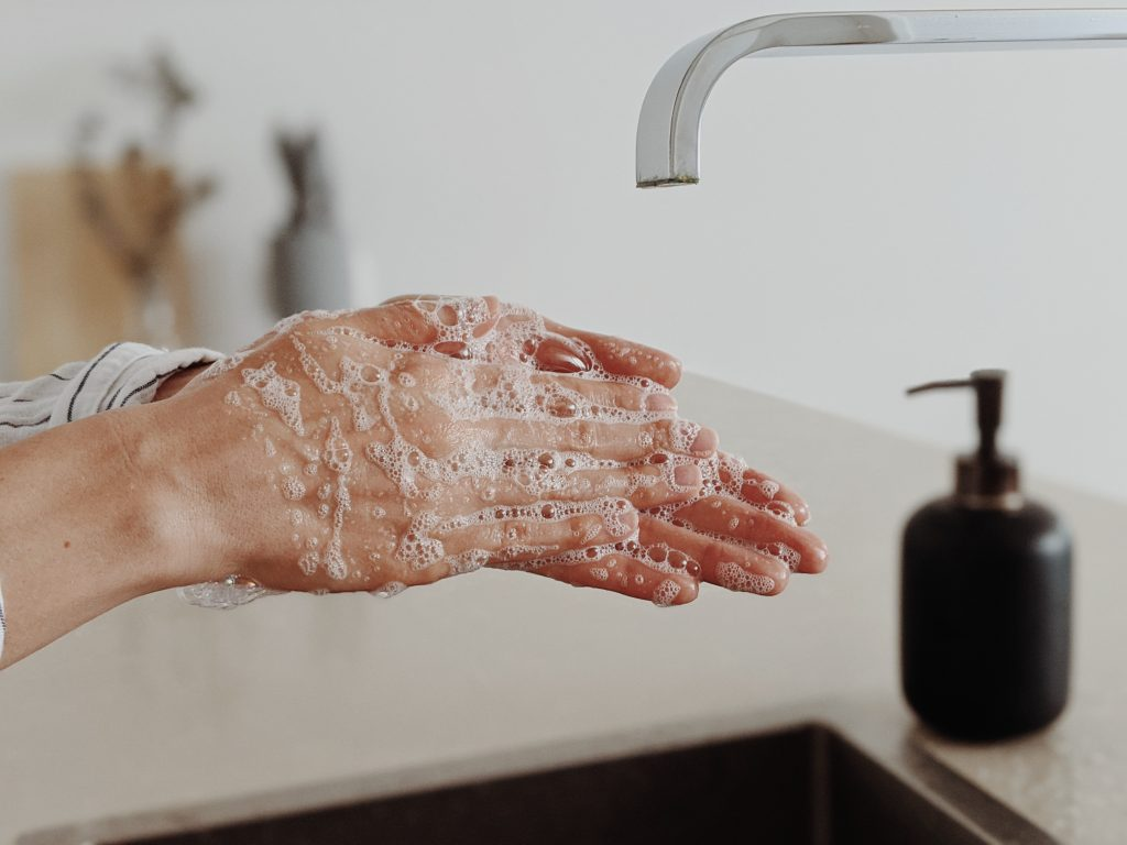 washing hands at office